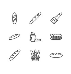 Baguette food flat line icons bread house vector