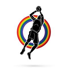basketball player jumping and prepare shooting vector image