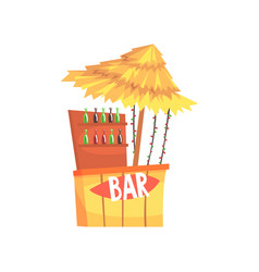 Beach bar stall outdoor counter with a thatched vector