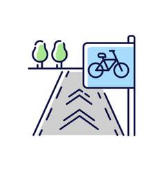Bicycle lane rgb color icon vector