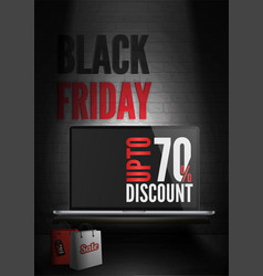 black friday computers sale poster template vector image