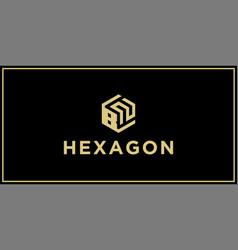 bn hexagon logo vector image