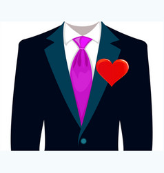 bridegroom in a wedding suit with red heart vector image