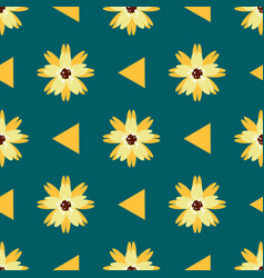 bright seamless pattern with yellow flowers vector image