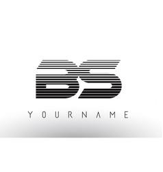 Bs black and white horizontal stripes letter logo vector