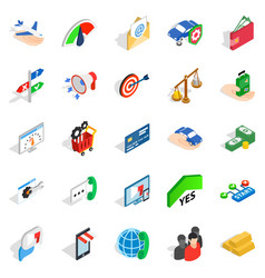 business pay icons set isometric style vector image