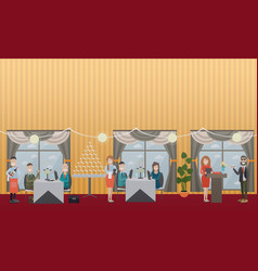 Business people in restaurant flat vector