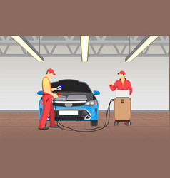 car service and busy workers vector image