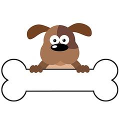 Cartoon Dog Over A Bone Banner vector