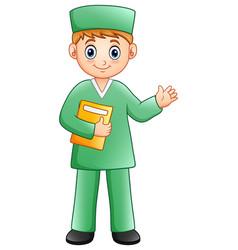 Cartoon male nurse waving hand vector