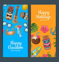 cartoon summer travel web banner templates vector image