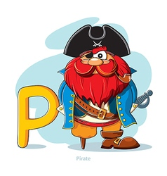 Cartoons alphabet - letter p with funny pirate vector