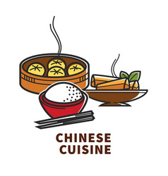 China cuisine national food rice dumplings and vector