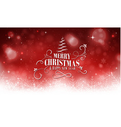 christmas and new year red glowing greeting with vector image