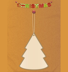 Christmas tree tag and bunting on brown paper vector