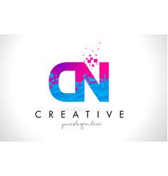 Cn c n letter logo with shattered broken blue vector