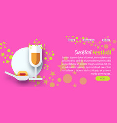 cocktail festival website flat template vector image
