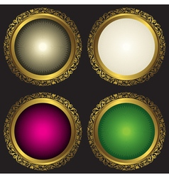 Collection vintage round frames with rays vector image