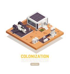 Colonization base isometric background vector