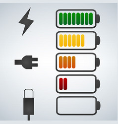 color battery icon charge from high to low vector image