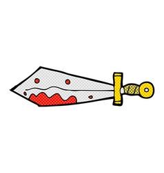 comic cartoon bloody sword vector image