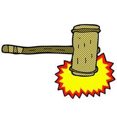 Comic cartoon wooden hammer vector