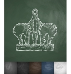 Crown icon hand drawn vector