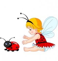 Cute baby fairy and ladybug vector