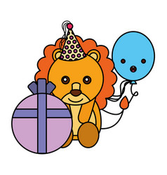 cute lion birthday gift balloon vector image