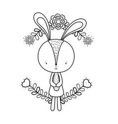 cute little rabbit with flowers decoration vector image