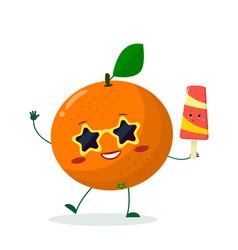 cute orange cartoon character in sunglasses star vector image