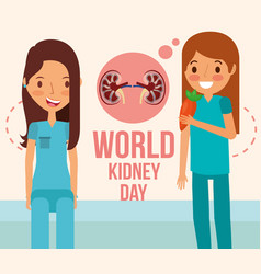 cute woman and girl with carrot world kidney day vector image