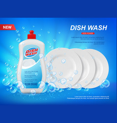 Detergent dishware cleaner with plates and bubbles vector