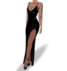 Elegant tanned woman dressed in a vulgar black vector