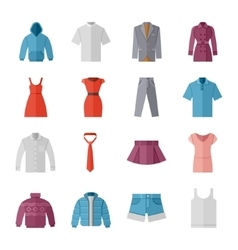 Fashion and clothes flat icons vector