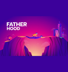 Fatherhood concept kid cross urban area to city vector