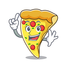 Finger pizza slice mascot cartoon vector