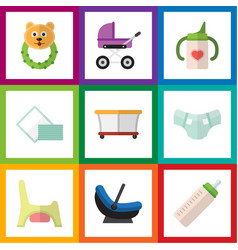 Flat icon infant set of nappy napkin playground vector