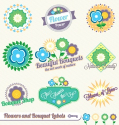 Flower and Bouquet Labels and Stickers vector image