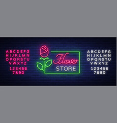 flower store logo neon sign flower shop vector image