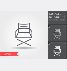 folding chair line icon with editable stroke with vector image