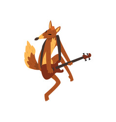 Fox playing guitar cartoon animal character with vector