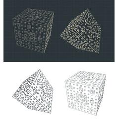 fractal cube vector image