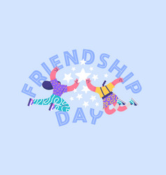 Friendship day card girl friends high five vector