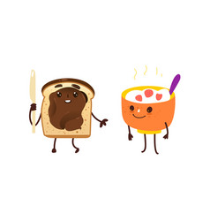 Funny breakfast characters - oatmeal and toast vector