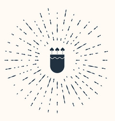 Grey quiver and arrows with heart icon isolated on vector