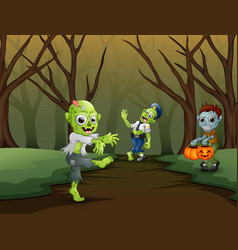 group of zombie celebration halloween vector image