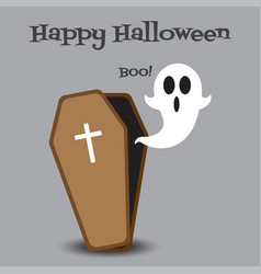 happy halloween - ghost floats out from coffin vector image