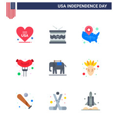 Happy independence day 9 flats icon pack for web vector