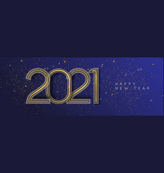 happy new year 2021 gold artdeco line frame banner vector image
